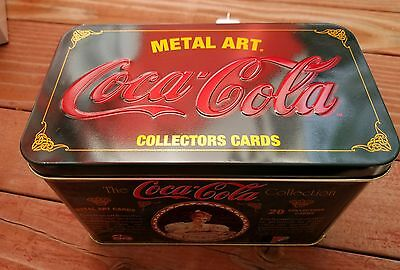 Old-Fashioned 1994 Coca Cola METAL ART Set of  20 Collector Cards in Tin