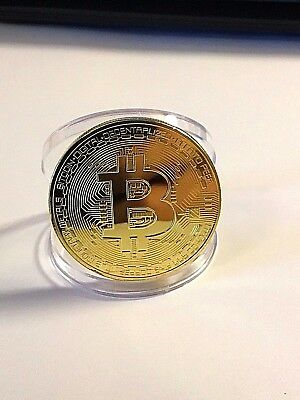 BITCOIN!!!  Gold Plated Bitcoin in nice protective acrylic case