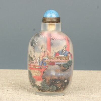 China Exquisite Handmade the ancients Text pattern Glass snuff bottle