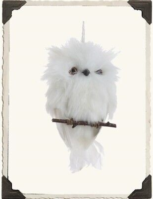 Victorian Trading Co Snow Oliver Owl Owlette White Feather Christmas Ornament