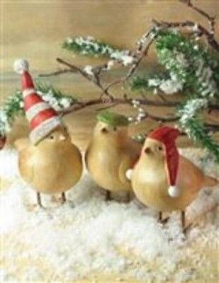 The Victorian Trading Co 3 Winter Birds in Hats Faux Wood Free Ship NIB