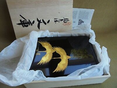 Japanese Wajima Lacquer Wear Desk Or Table Box Hand Crafted Gold Leaf Cranes Nib