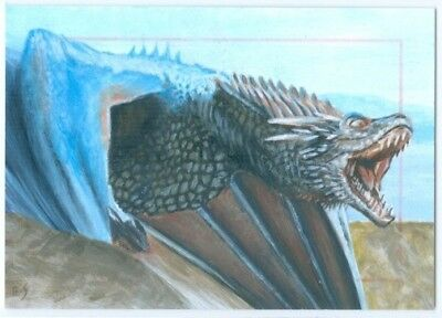 """dragon Sketch Card By Richard Salvucci"" Game Of Thrones Season 4"