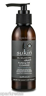 Sukin Oil Balancing Facial Cleansing Charcoal Purifying Gel Face CLEANSER 125ml
