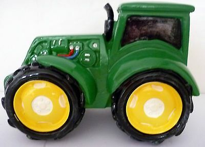 Glossy Painted Polyresin Bright Green Tractor Money Box Needs A New Garage Bnib