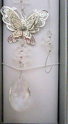 Decorative Hanging Suncatcher With Crystals, Diamante & Silver Butterfly Bnib