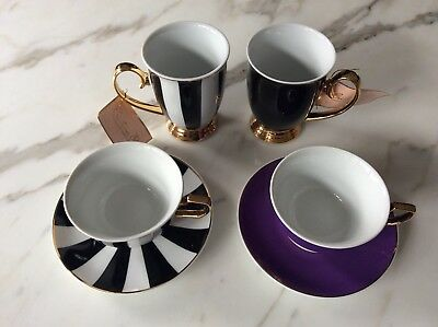 CRISTINA RE 24 Carat Gold Plated Fine Porcelain Set 2x Coffee Mugs 2x Cup Saucer