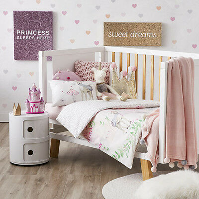 ADAIRS KIDS Winter Castle Princess Deer COT (Jnr Bed) QUILT COVER SET white pink