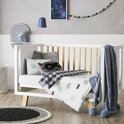 ADAIRS KIDS Boy Bandit COT (Jnr Bed) QUILT COVER SET BNIP faces check blue