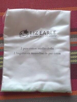 LIZ EARLE • Pack of Two Muslin Facial Cleaning Cloths • BRAND NEW WRAPPED
