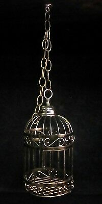 antique vintage primitive style brass metal birdcage country hanging decor