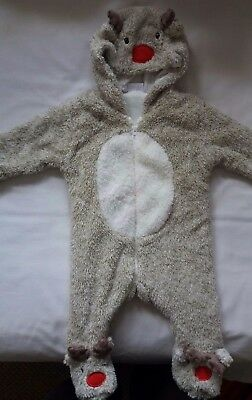 Boys Girls 3-6 Months Christmas Reindeer Suit Full Length Baby Grow Soft NEW