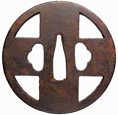Cross KATANA Kirishitan TSUBA Japanese Old Iron Koshirae fitting E144
