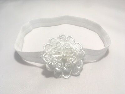 Baby Off White Christening Headband Halo Baptism Wedding Girl Lace Cross Pearl