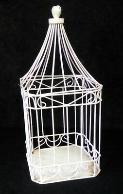 Antique primitive vintage style metal white country hanging birdcage Garden