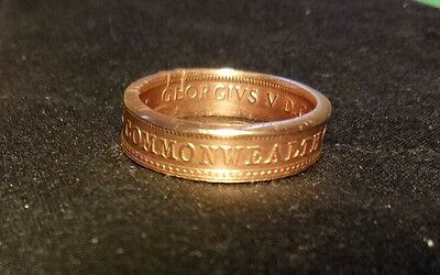 100 year old Half Penny AUSTRALIAN Coin Ring handmade  US SIZE 8 FREE POST