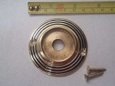 A Heavy Cast Brass Door Knob Back Plate (Reeded Design) Rim Lock / Door Knobs.