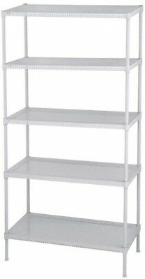 Edsal Perforated 5-Tier Steel Wire Garage Shelving White (71 in. H x 35.5 in. W)