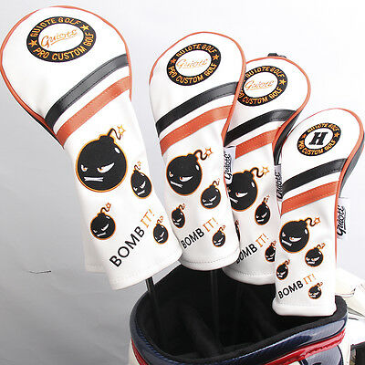 BOMB IT - WHITE - Premium PU Leather 4x Vintage Series Head Cover Set 1,3,5,H