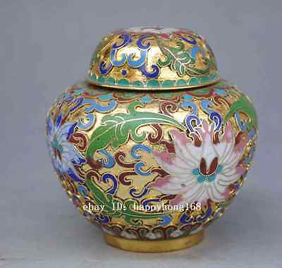 Antique chinese Cloisonne Enamel Peony Red Watermelon Pot Jar Crock, With Lid