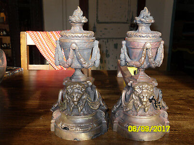 Brass Lion Figures -Fireplace Andirons-VERY Ornate and Detailed
