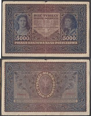 Poland 5000 Marek 1920 (aVF) Condition Banknote P-31