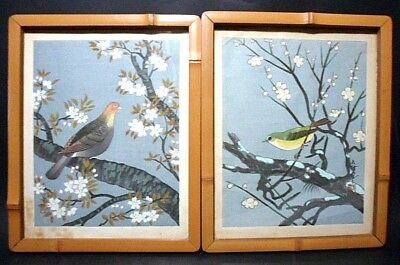 2~Vtg Asian Chinese Watercolor Art Painting Bird Floral Bamboo Frame Wood Back