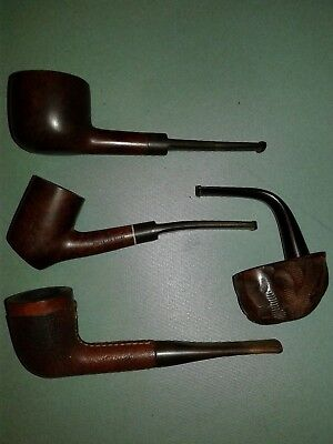Lot of 4 Unbranded Vintage Tobacco Estate Pipes, Very Nice Lot
