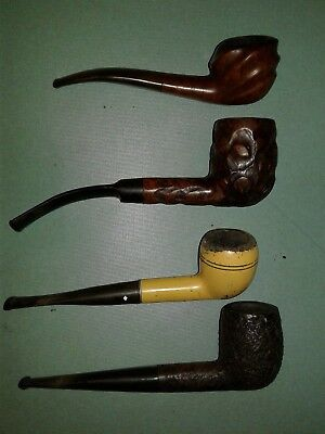Lot of 4 Vintage Tobacco Smoking Estate Pipes For Repair/Restore