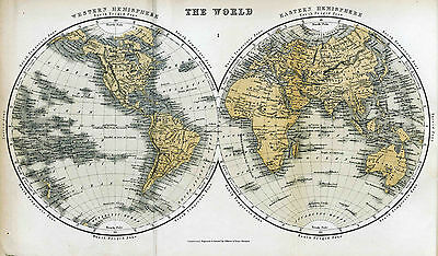 Map of The World Reproduction 1859 Print