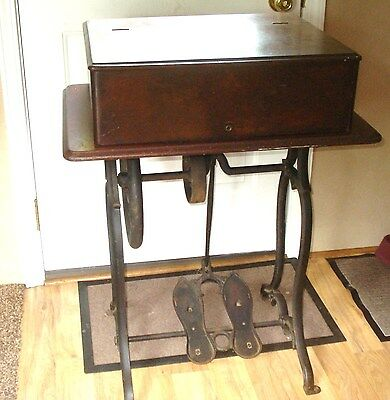 Pre 1870 Antique Wheeler Wilson Sewing Machine Cabinet Wood &  Cast Iron Base