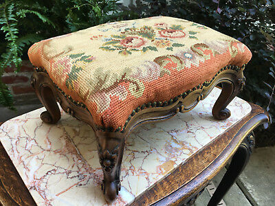 PETITE Antique French carved oak Louis XV Footstool Stool Tapestry Floral