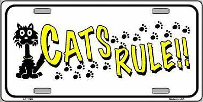 Cats Rule  Decorative Sign Tag License Plate