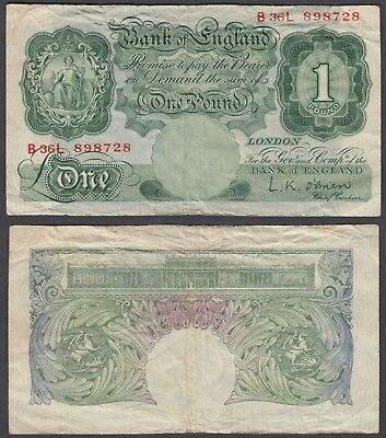 Great Britain 1 Pound 1955-60 (F-VF) Condition Banknote P-369c (B36L)