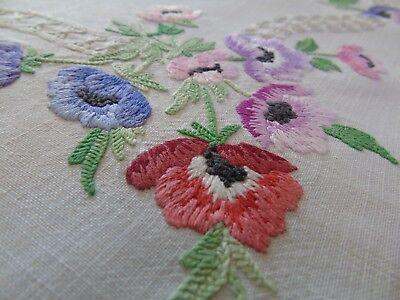 """Stunning Hand Embroidered Tablecloth..""""Anemones""""33"""" x33""""...84cms x 84cms VGC"""