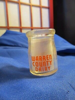 "Cream Milk Bottle WARREN COUNTY DAIRY  *2-sided red print* 2"" TALL"
