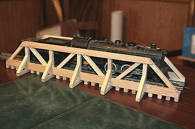 "S Gauge handmade wood trestle bridge 17 1/4"" long for American Flyer etc.."