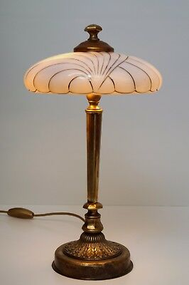 "Prachtvolle original Art Deco Tischlampe Messinglampe 1940 ""GOLDEN STRIPES"""