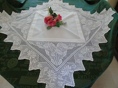 "Pretty White Linen Hand Crochet Tablecloth 40"" x 40""..102cms x 102cms  VGC"