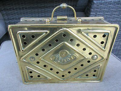 Unusual antique brass carriage foot/hand warmer