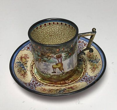 19Th Century Viennese Enamel And Silver Cup & Saucer