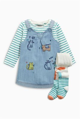 Next 3 Pc Cat Embroidered Dress, Stripe Top & Cat Tights  Age 6 ~ 9 Mths Bnwt