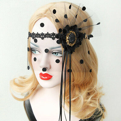 Sexy Womens Flower Lace Dot Masquerade Face Eye Mask Hair Headband Party Gothic