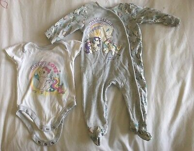 Baby Girl My Little Pony Baby Grow & Matching Vest 6-9 Months