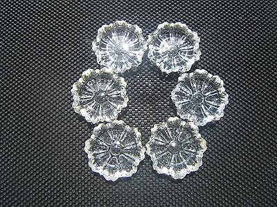 """Vintage Hazel Atlas 3 1/4"""" Clear Pressed Glass Fluted Round Ashtrays lot of 6"""