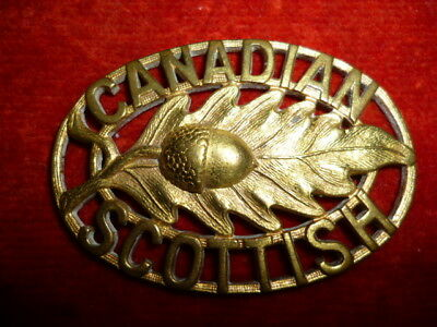 1st Battalion, The Canadian Scottish Brass Shoulder Title Badge WW2 - Canada