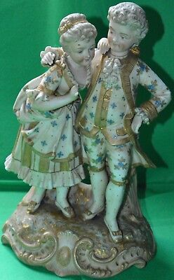Good & large 19th century biscuit porcelain rococo figurine of a courting couple