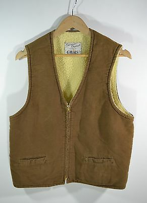 1950's Grais Sherpa lined Suede Leather Vest Conmatic Zipper Adult size Large