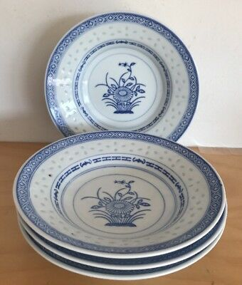 X4 Chinese 🍜 Bowl/plate In Blue & White Marked Underneath EC