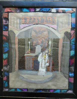 Mabel Maugham Beldy (Nee Hardy) 1874-1972Fine  Signed Silk Collage 'altar Scene'